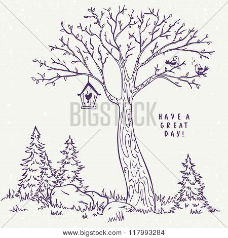 tree sketch nest