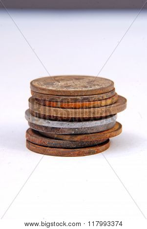 Picture of a Vintage old rusty coins