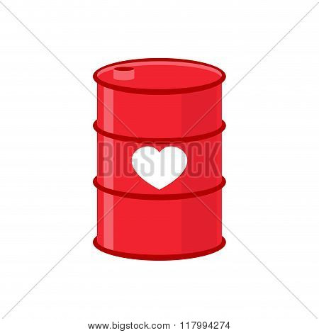 Barrel Of Love. Red Iron Barrel With  Heart. Supply Of Love. Element For Valentines Day.