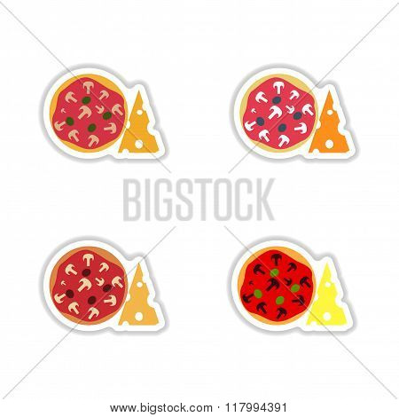 Stickers assembly pizza with cheese and mushrooms