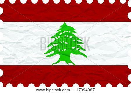 Wrinkled Paper Lebanon Stamp