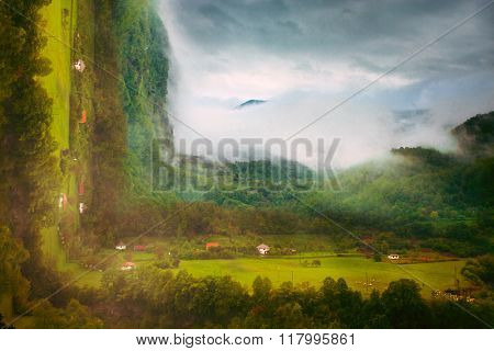 small village in rainy mountain, bend photo manipulation