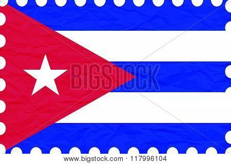 Wrinkled Paper Cuba Stamp