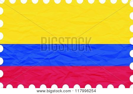 Wrinkled Paper Colombia Stamp
