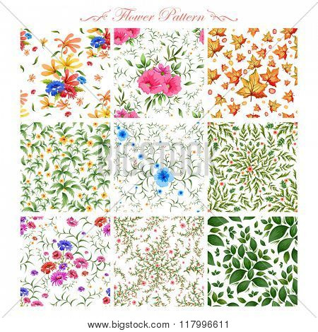 illustration of watercolor floral seamless pattern