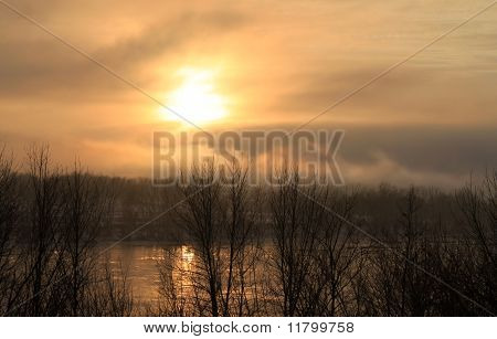 Mystic Fog At Sunset