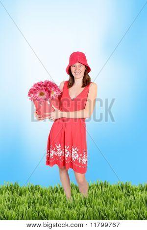 Cute Teen In A Periwinkle  Dress In Grass