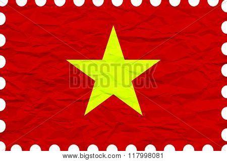 Wrinkled Paper Vietnam Stamp