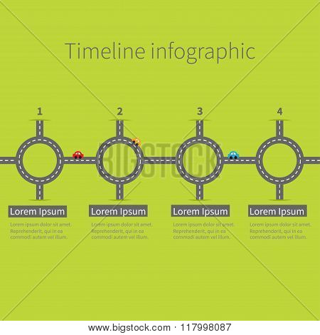 Timeline Infographic Four Step Round Circle Crossroad Set. Road White Marking And Cartoon Cars. Numb