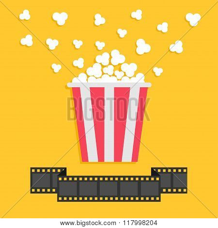 Popcorn. Film Strip Ribbon Line. Red Yellow Box. Cinema Movie Night Icon In Flat Design Style.