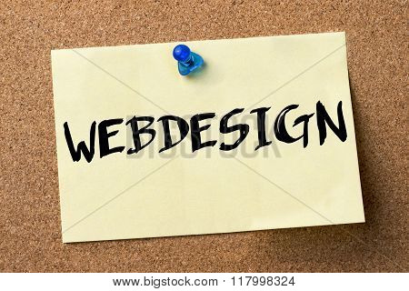 Webdesign - Adhesive Label Pinned On Bulletin Board