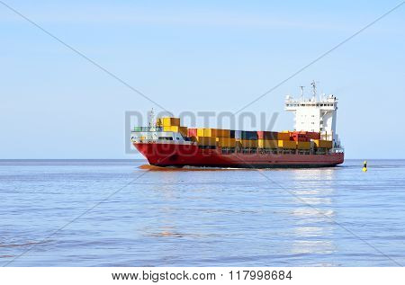 Colorful Cargo Container Ship Sailing In Still Water