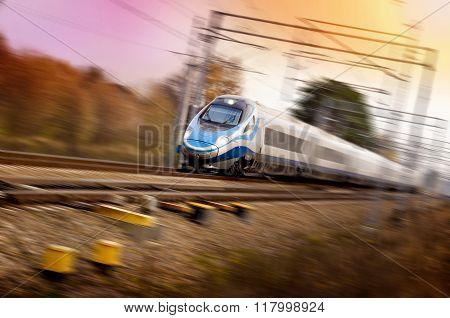 Very Fast Train On Railway - Motion Blur, Sunset