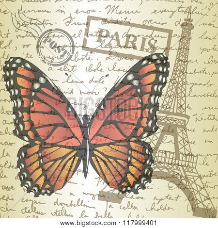 table top with sketching paper and butterfly