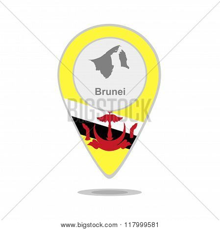 A pointer with map and flag of Brunei
