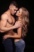 Beautiful Sexy Couple. Gorgeous Blond Woman And Handsome Man poster