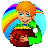 image of hobgoblin  - Young elf with ginger hair holding pot with golden coins - JPG