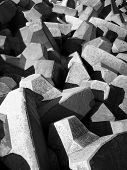 stock photo of rip-rap  - concrete blocks used in construction of breakwater - JPG