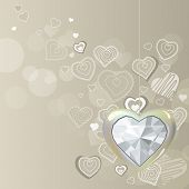 stock photo of pastel colors  - Diamond silver heart hanging on light grey background - JPG