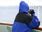 Cruise Ship Tourist In Blue Parka poster