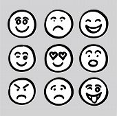 Hand Drawn Human Face Expressions Icons Collection Set Vector Graphic poster