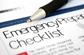 stock photo of accident emergency  - Close up of pen on emergency checklist - JPG