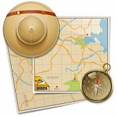 Постер, плакат: Vector Safari Map With Hat