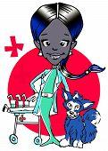 veterinary-(african american hispanic woman) clipart poster