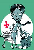 veterinary (indian woman) clipart poster