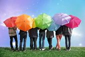 image of united we stand  - seven friends with rainbow color umbrellas on meadow collage - JPG