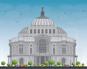 Постер, плакат: The Fine Arts PalacePalacio de Bellas Artes in Mexico City Mexico Vector illustration Business T