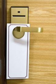 picture of door-handle  - empty label on a door handle for your text - JPG