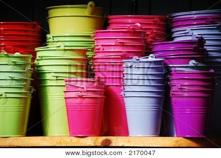 Colourful Plant Metal Pots