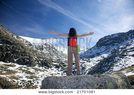 Summer Woman Snow Mountain