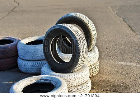 old tires on the asphalt of a race track.JPG