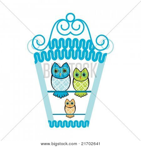 Owls in birdhouse
