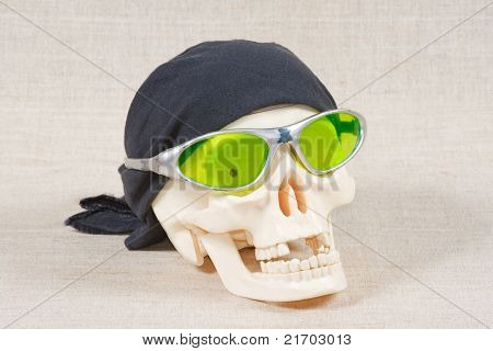 The skull with black bandana and glasses