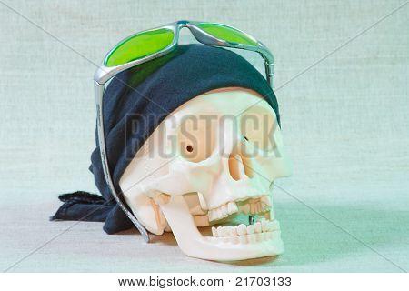 The skull with black bandana
