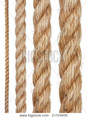 Set of various ropes isolated on white background