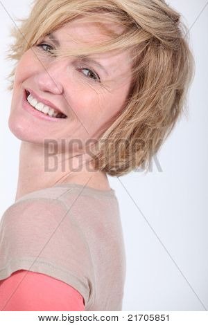 portrait of beautiful mature blonde lady