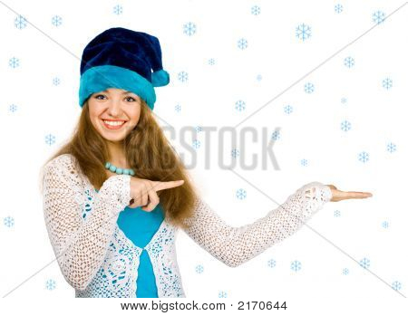 Christmas Girl Over White Background