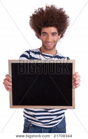 Happy And Handsome Man Holding A Black Board