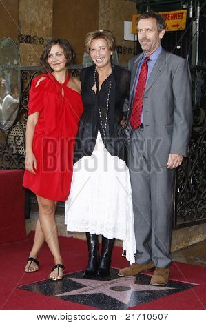 LOS ANGELES - AUG 6: Maggie Gyllenhaal, Emma Thompson and Hugh Laurie at the Walk of Fame ceremony where Emma Thompson receives the 2415th in Los Angeles, California on August 6, 2010