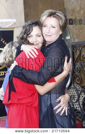 LOS ANGELES - AUG 6: Maggie Gyllenhaal, Emma Thompson at the Walk of Fame ceremony where Emma Thompson receives the 2415th in Los Angeles, California on August 6, 2010