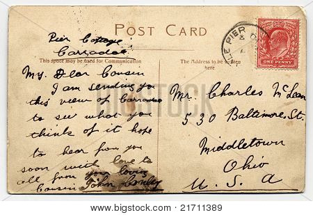 Postal manuscrita de Escocia