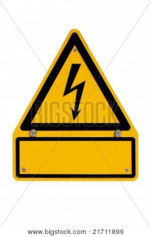 High Voltage Sign with copyspace on white