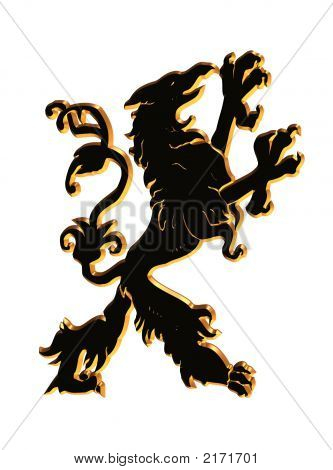 3D Black And Gold Griffin