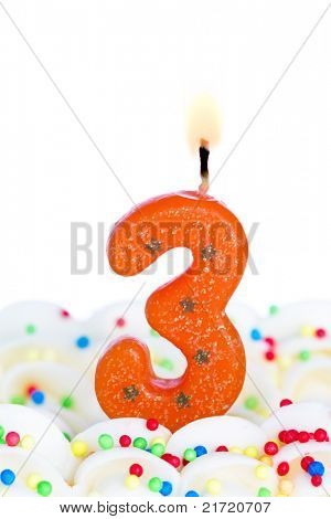 Number three candle