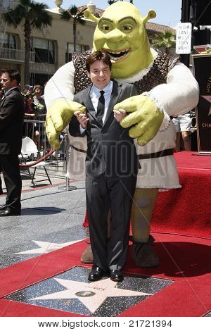 LOS ANGELES - MAY 20: Shrek; Mike Myers at a ceremony where Shrek receives a star on the Hollywood Walk of Fame, Los Angeles, California on May 20, 2010