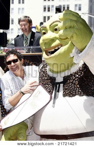 LOS ANGELES - MAY 20: Shrek, Antonio Banderas at a ceremony where Shrek receives a star on the Hollywood Walk of Fame, Los Angeles, California on May 20, 2010